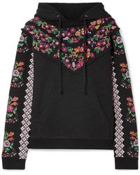 Needle & Thread - Embellished Broderie Anglaise-trimmed Jacquard Cotton-blend Hooded Top - Lyst