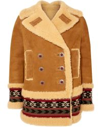 Etro - Embroidered Shearling Coat - Lyst