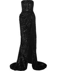 Alex Perry Brooks Strapless Fil Coupé Silk-blend Chiffon Gown - Black