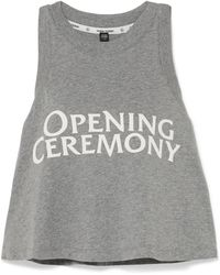 Opening Ceremony - Torch Cropped Printed Cotton-jersey Tank - Lyst