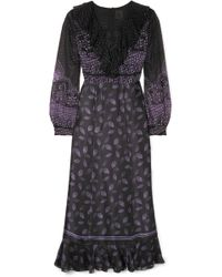Anna Sui - Fountains Of Fancy Fil Coupé Silk-blend Chiffon And Silk-satin Maxi Dress - Lyst