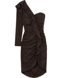 Veronica Beard - Leona One-shoulder Ruffled Ruched Polka-dot Silk Dress - Lyst