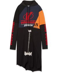 Vetements - Patchwork Printed Cotton-jersey Hooded Dress - Lyst