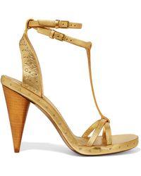 a0e32165f2e3 Gucci Studded Two-tone Metallic Leather Platform Sandals in Metallic ...