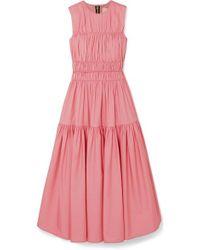 ROKSANDA Isilda Gathered Cotton-poplin Midi Dress