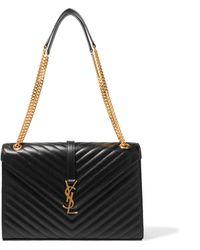Saint Laurent - Cassandre Large Quilted Textured-leather Shoulder Bag - Lyst