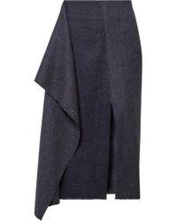 Cedric Charlier - Draped Herringbone Wool And Cashmere-blend Midi Skirt - Lyst
