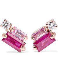 Suzanne Kalan - 18-karat Rose Gold, Diamond And Sapphire Earrings - Lyst