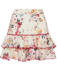 Charo Ruiz Fera Ruffled Crocheted Lace And Floral-print Voile Mini Skirt - White