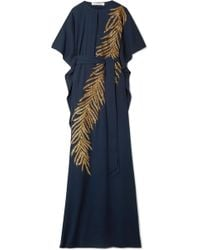 Oscar de la Renta - Embellished Stretch-silk Gown - Lyst