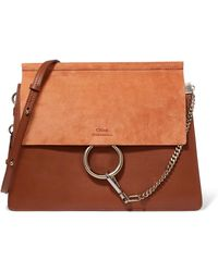 Chloé - Faye Medium Leather And Suede Shoulder Bag - Lyst