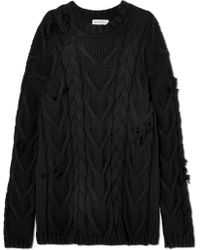 Palm Angels - Distressed Cable-knit Cotton-blend Sweater - Lyst