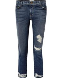 Current/Elliott - The Cropped Distressed Mid-rise Slim-leg Jeans - Lyst