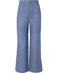 Mara Hoffman - Arlene Striped Organic Linen-twill Flared Trousers - Lyst