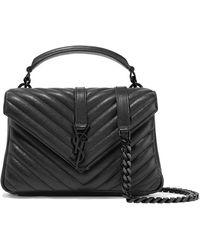 76c6c40d76c Lyst - Saint Laurent College Medium Quilted Leather Shoulder Bag in Gray
