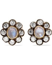 Fred Leighton - 1890s Sterling Silver, Gold, Moonstone And Diamond Earrings - Lyst