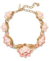 Oscar de la Renta   Painted Wild Lotus Gold-plated Necklace   Lyst