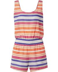 Stella McCartney - Striped Cotton And Silk-blend Voile Playsuit - Lyst
