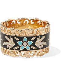 Gucci | Icon 18-karat Gold And Enamel Ring | Lyst