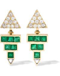 Ileana Makri - Pyramid 18-karat Gold, Emerald And Diamond Earrings - Lyst