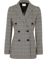 By Malene Birger - Checked Cotton-blend Blazer - Lyst