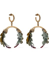 Valentino - Garavani Bloomy Enameled Gold-tone Earrings Gold One Size - Lyst