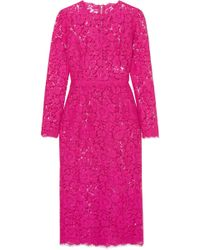 Dolce & Gabbana - Corded Lace Midi Dress - Lyst