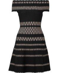 Hervé Léger - Off-the-shoulder Stretch Jacquard-knit Mini Dress - Lyst