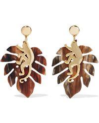 Oscar de la Renta - Large Jungle Gold-plated Horn Clip Earrings - Lyst