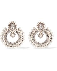 Etro - Silver-plated, Crystal And Faux Pearl Earrings - Lyst