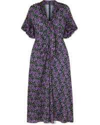 Lela Rose - Pussy-bow Printed Crepe De Chine Midi Dress - Lyst