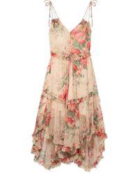 Zimmermann - Laelia Floral-print Silk-crepon Midi Dress - Lyst