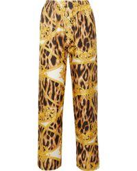 Versace - Printed Silk-twill Pajama Pants - Lyst