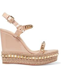 Christian Louboutin - Cataclou 120 Studded Patent-leather Wedge Platform Sandals - Lyst