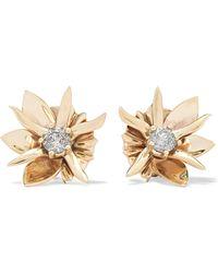 Meadowlark - Wildflower 9-karat Gold Diamond Earrings Gold One Size - Lyst