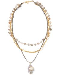 Chan Luu - Layered Gold-plated, Cord And Multi-stone Necklace - Lyst