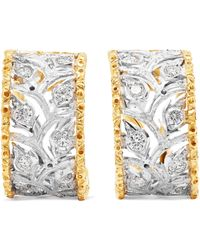 Buccellati - Ramage 18-karat White And Yellow Gold Diamond Hoop Earrings - Lyst
