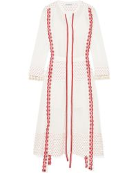 Altuzarra - Grenelle Broderie Anglaise-trimmed Swiss-dot Cotton And Chiffon Midi Dress - Lyst