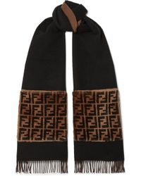 Fendi - Shearling-trimmed Wool And Cashmere-blend Scarf - Lyst