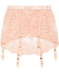 Agent Provocateur - Peachy Satin-trimmed Stretch-leavers Lace Suspender Belt - Lyst