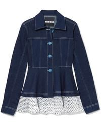 House of Holland | Swiss-dot Tulle-trimmed Denim Jacket | Lyst