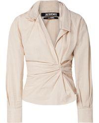 Jacquemus - La Chemise Belem Ruched Cotton And Linen-blend Shirt - Lyst