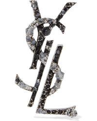 Saint Laurent - Ruthenium-plated, Crystal And Enamel Clip Earrings - Lyst