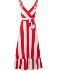 Alice + Olivia - Fernanda Ruffled Striped Cotton-poplin Maxi Dress - Lyst