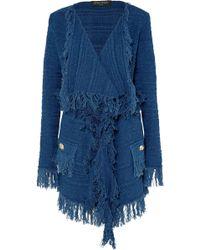 Balmain - Frayed Cotton-tweed Blazer - Lyst