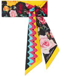 Dolce & Gabbana - Floral-print Silk-twill Scarf - Lyst