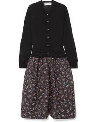Comme des Garçons - Wool And Floral-print Cotton And Silk-blend Midi Dress - Lyst