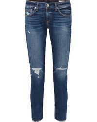 Rag & Bone - Dre Distressed Slim Boyfriend Jeans - Lyst