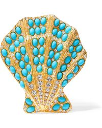 Kenneth Jay Lane - Gold-tone, Turquoise And Crystal Brooch - Lyst