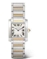 Cartier - Tank Française 25.05mm Medium 18-karat Gold And Stainless Steel Watch - Lyst